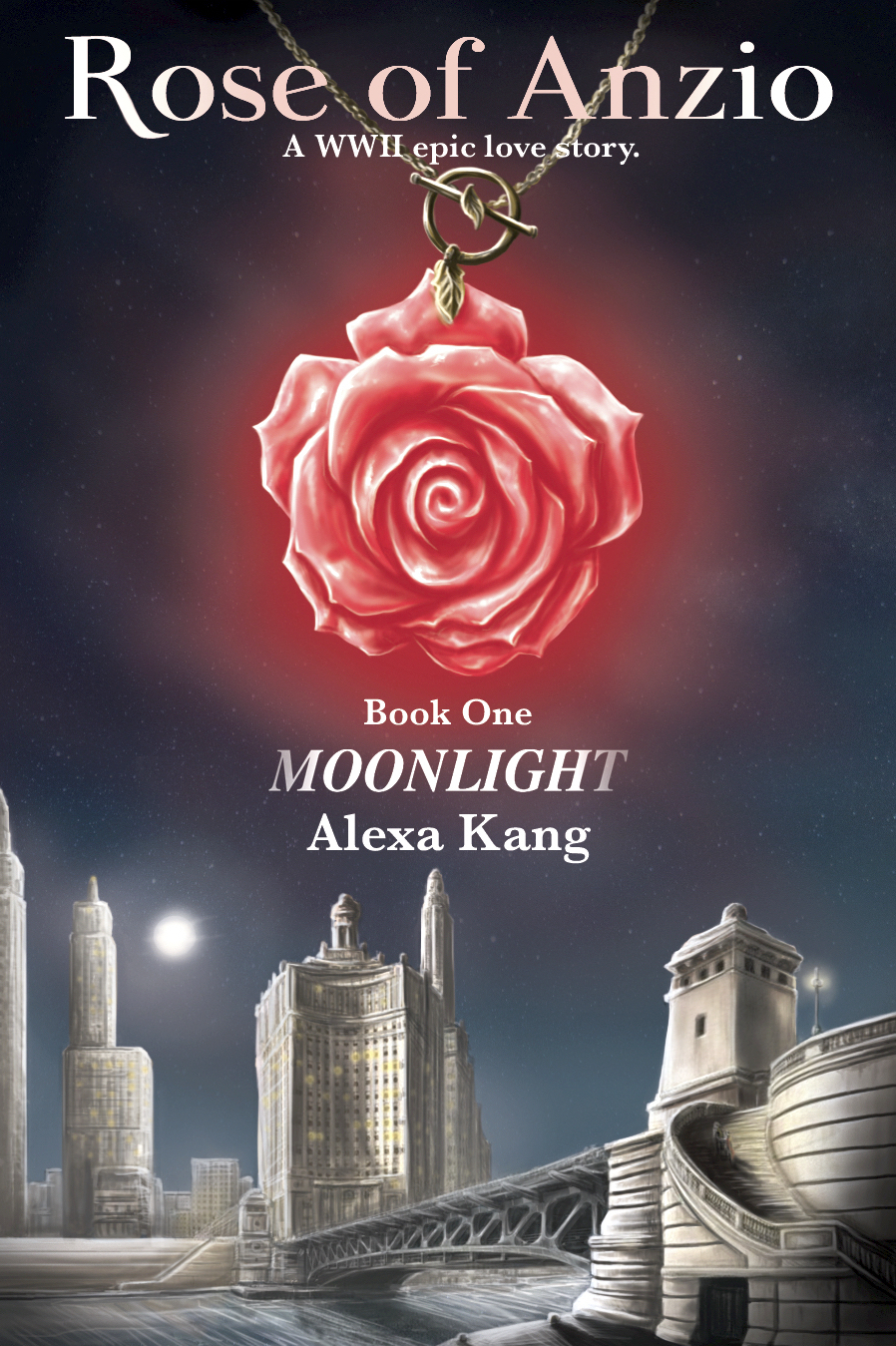 epic love story book cover Rose of Anzio Book One Moonlight