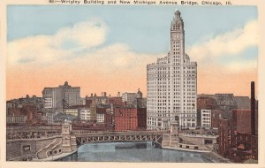 MI bridge POSTCARD - CHICAGO - WRIGLEY BUILDING - NEW MICHIGAN AVE BRIDGE - AERIAL - 1923